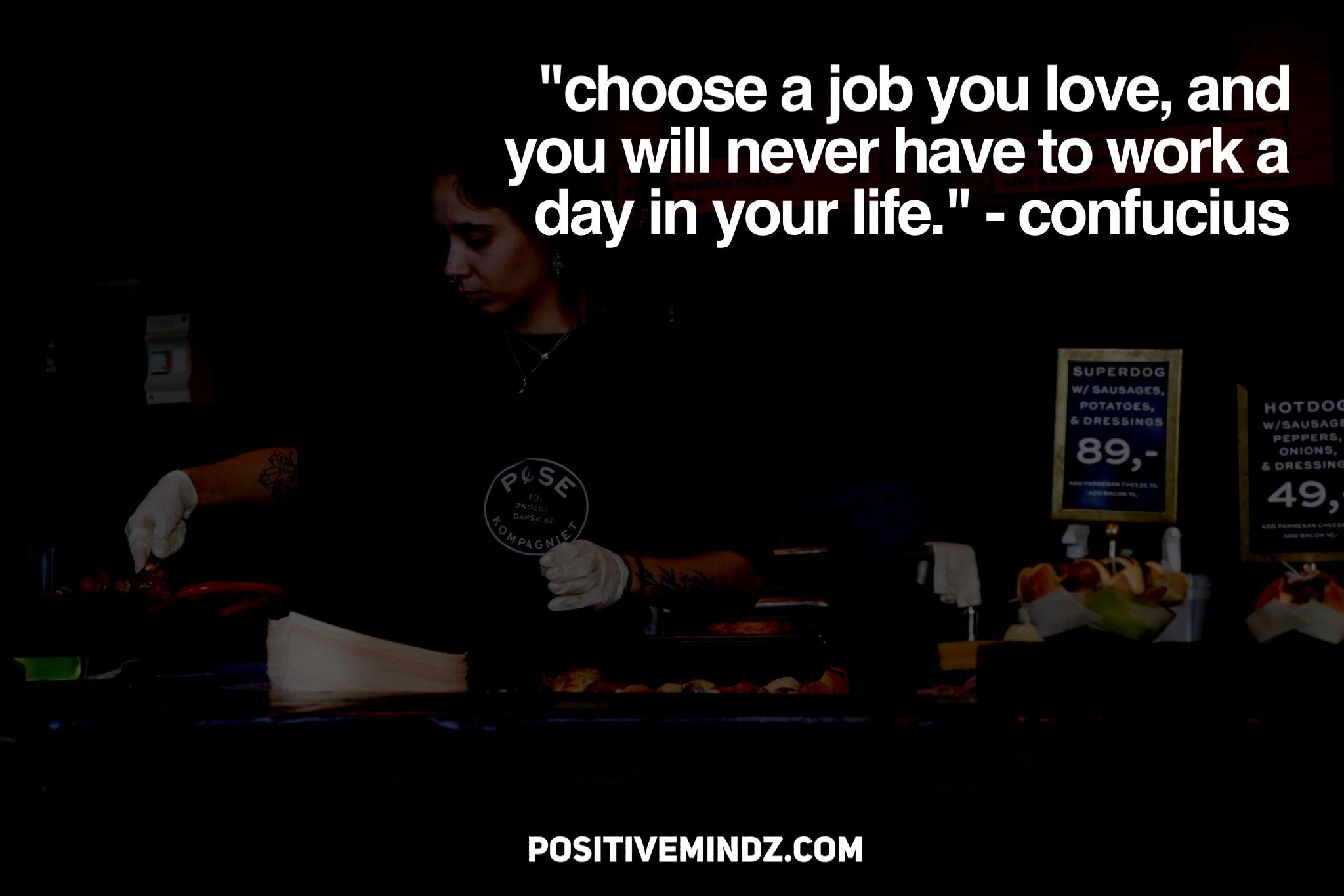 """Choose a job you love, and you will never have to work a day in your life."" – Confucius [2048×1367]"