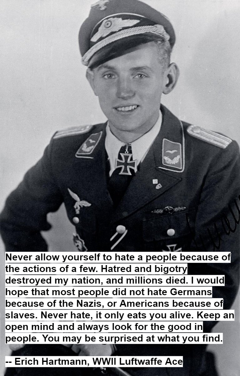 Never allow yourself to hate a people because of the actions of a few. — Erich Hartmann [767 x 1200] (OC)