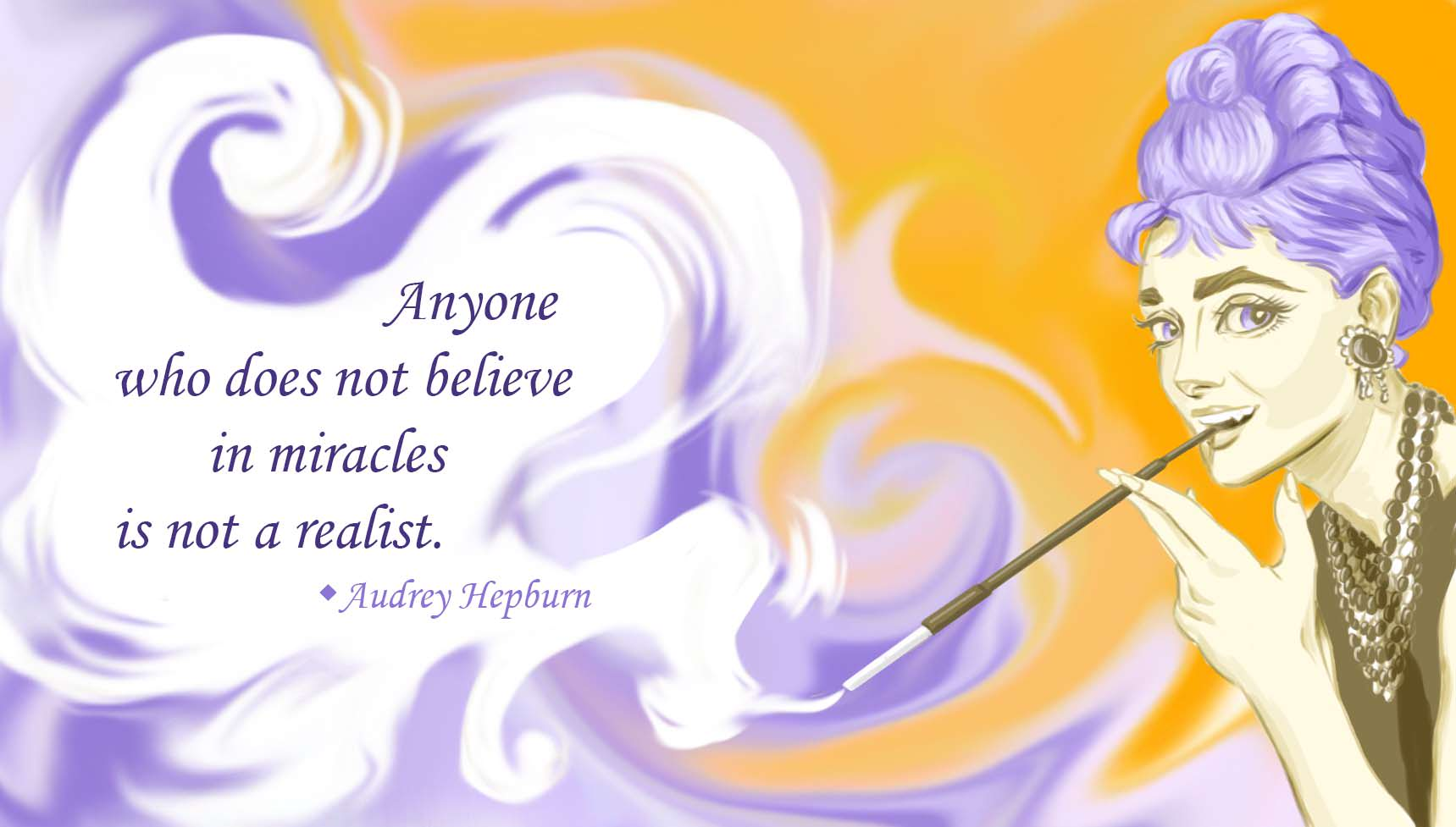 """Anyone who does not believe in miracles…"" – Aubrey Hepburn [1719 x 977] [OC]"