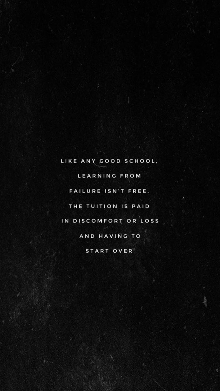 [IMAGE] It is only a failure if you stay stagnant.