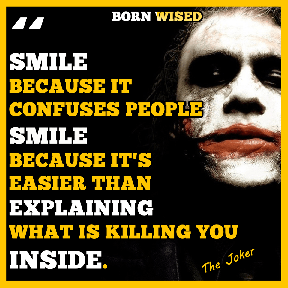 Smile because it confuses people -The Joker Heath Ledger [960×960][OC]