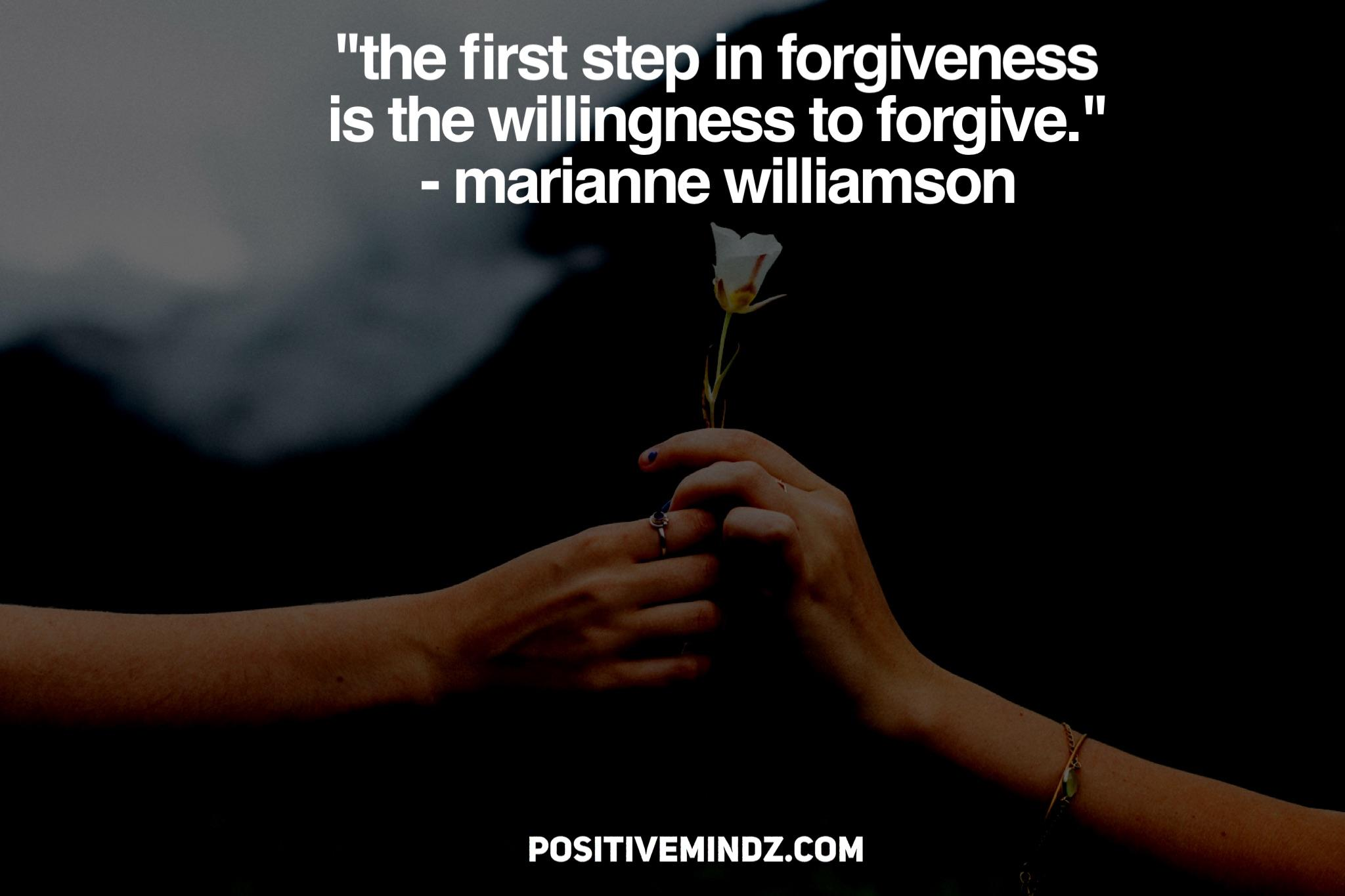 """The first step in forgiveness is the willingness to forgive."" – Marianne Williamson [2048×1367]"