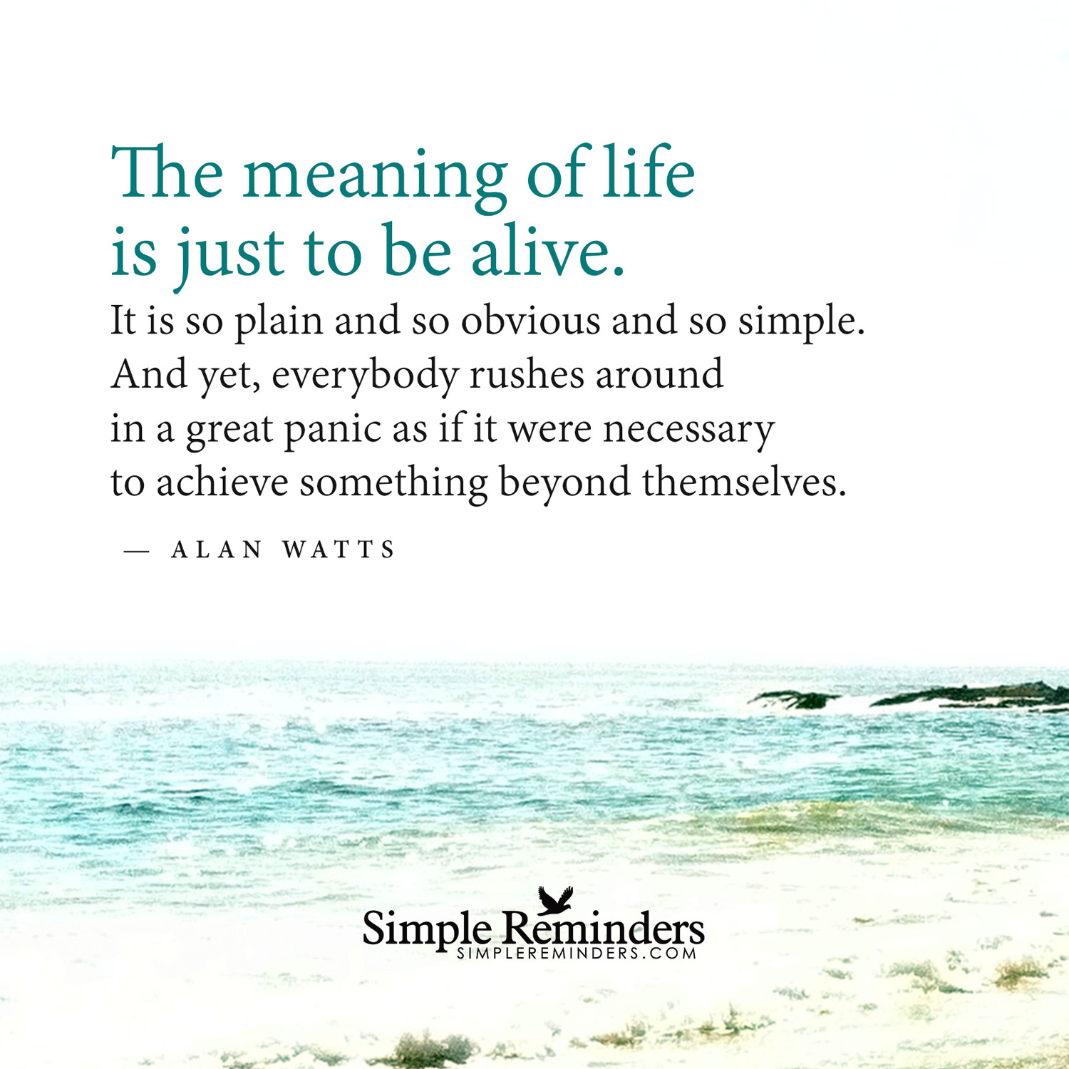 "[Image] ""the meaning of life is just to be alive"""