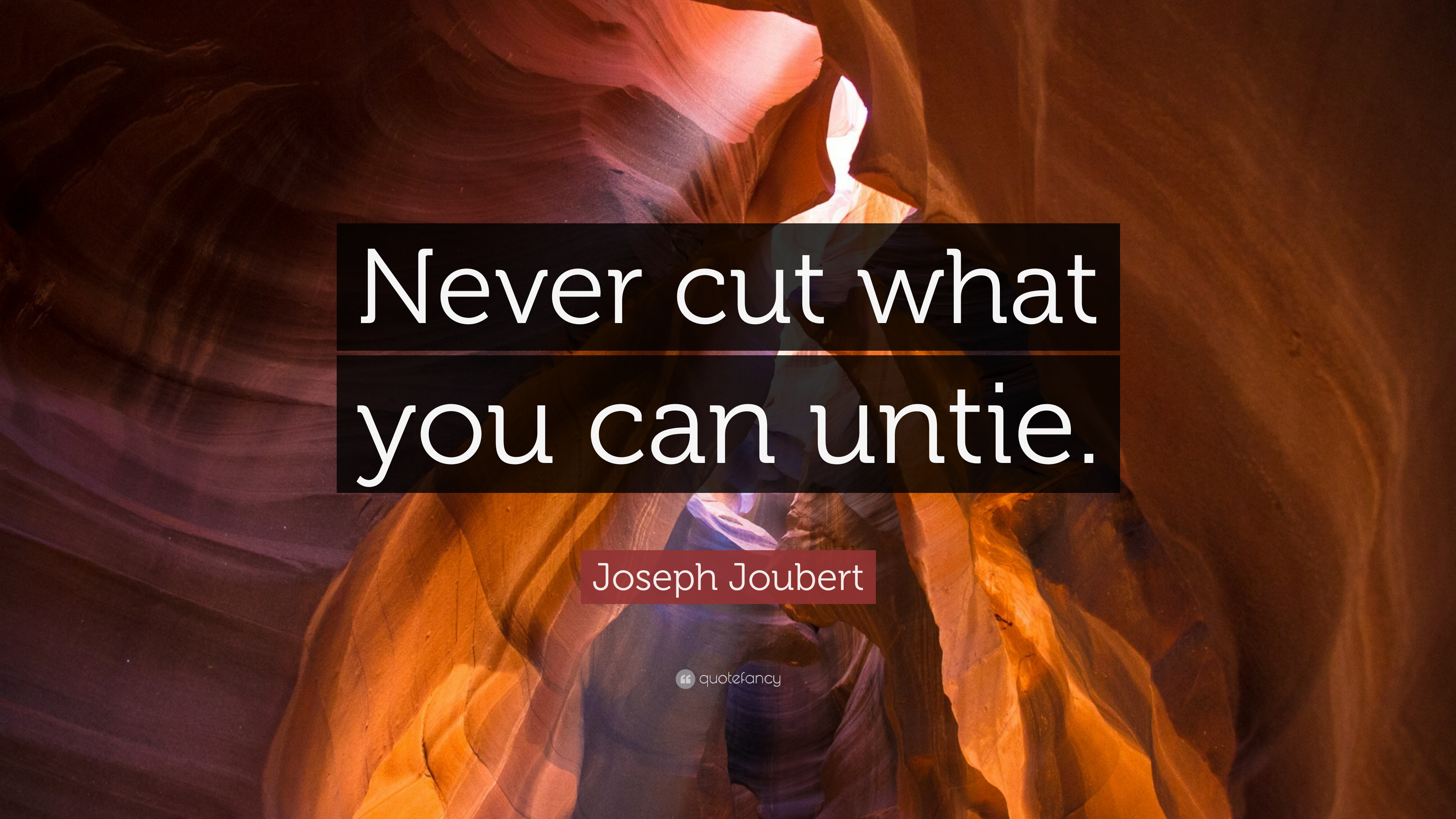 """Never cut what you can untie."" – Joseph Joubert [3840×2160]"