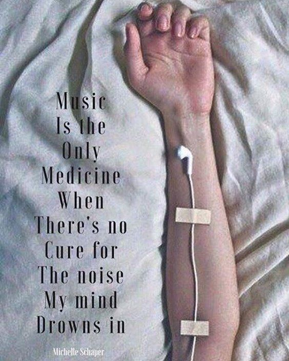 """Music is the only medicine when there's no cure for the noise…"" -Michelle Schaper [564×705]"