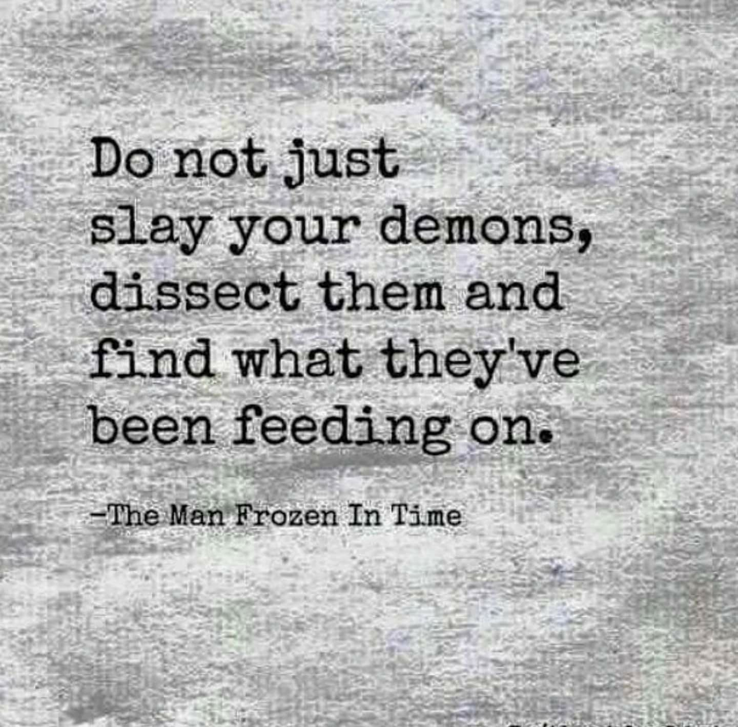 """Do not just slay your demons; dissect them and find what they've been feeding on."" – The Man Frozen In Time [1440×1420]"