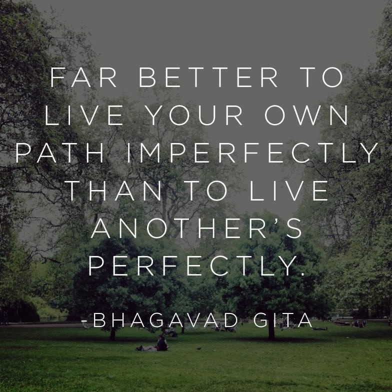 Far better to live your own path imperfectly, than to live another's perfectly – Bhagavad Gita [784×784]