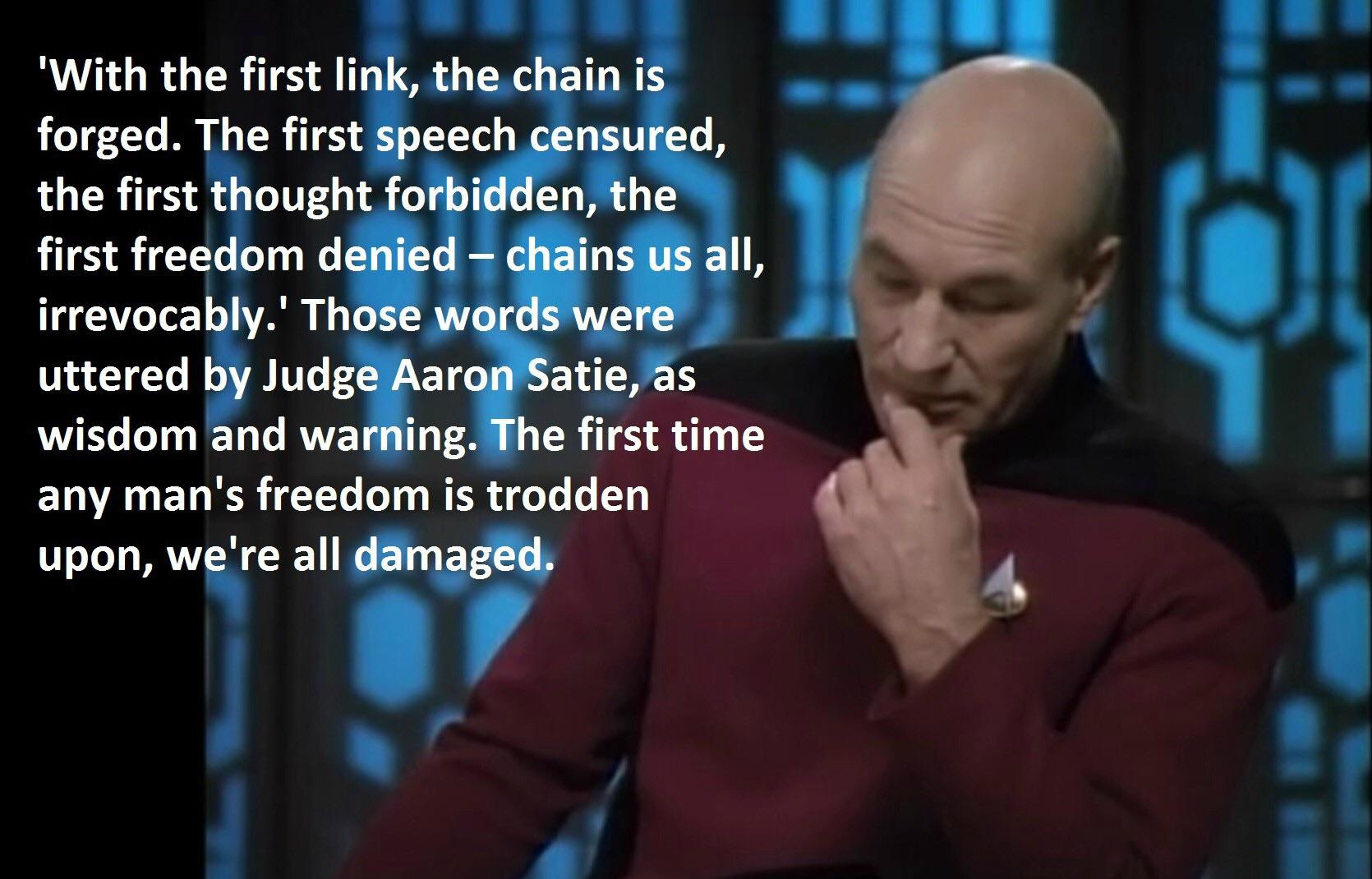 """With the first link, the chain is forged"". Jean-Luc Picard [1670×1070]"