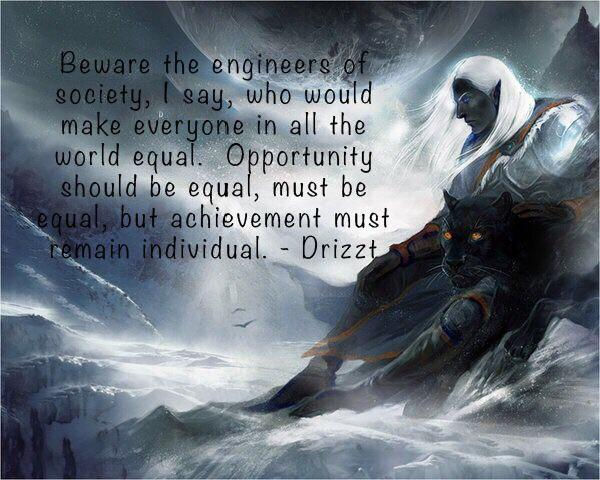 """Beware the engineers of society, I say, who would make everyone in all the world equal. Opportunity should be equal, must be equal, but achievement must remain individual."" – Drizzt [640 x 480] [OC]"