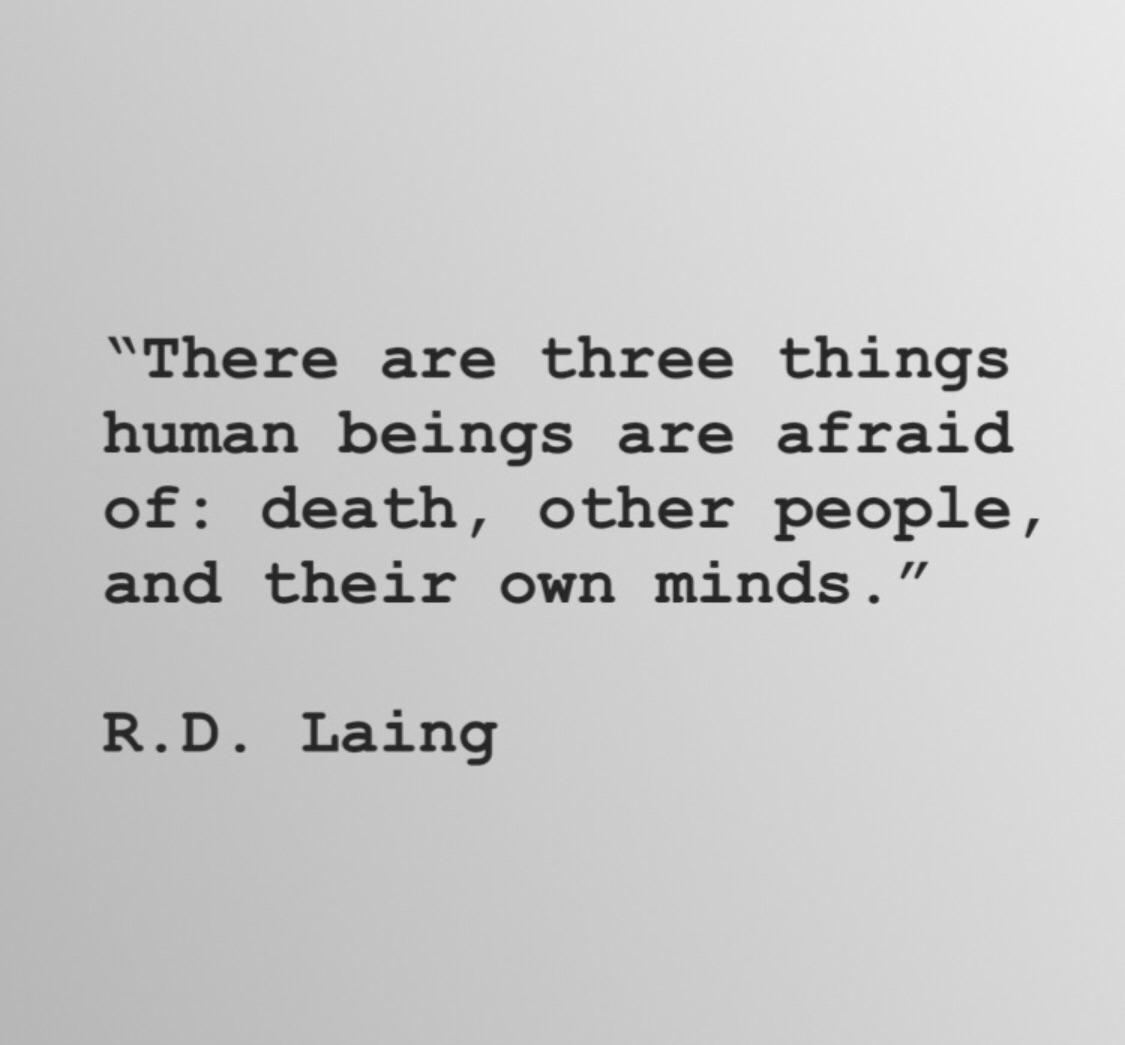 """There are three things that human beings are afraid of: death, other people, and their own minds."" R.D. Laing [600×600]"
