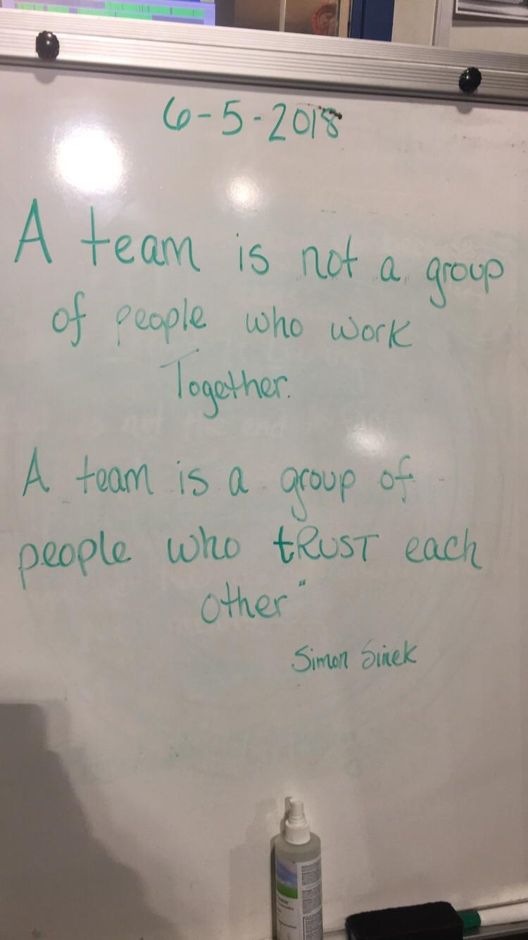 [IMAGE] Written on our productivity board at work, a quote about teamwork.