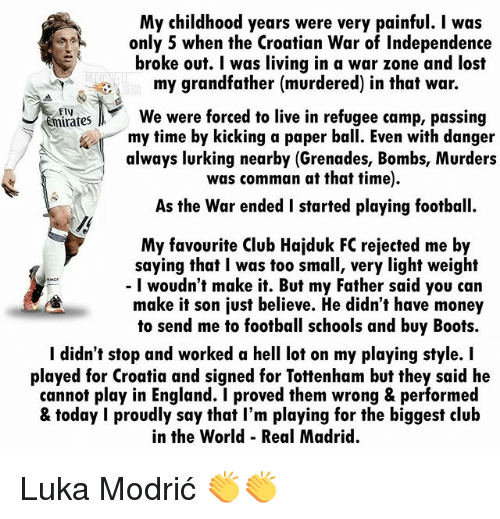 [Image] Inspirational story of Croatia captain Luka Modrić as they makes it to the World Cup final for first time in history