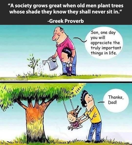 """A society grows great when old men plant trees whose shade they know they shall never sit in."" -Greek Proverb Son, one day you will appreciate the truly important things in life. https://inspirational.ly"