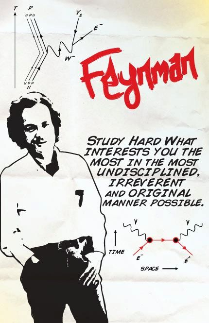 """Study hard what interests you the most in the most undisciplined, irreverent and original manner possible."" – Richard Feynman (quantum physicist) [430×665]"