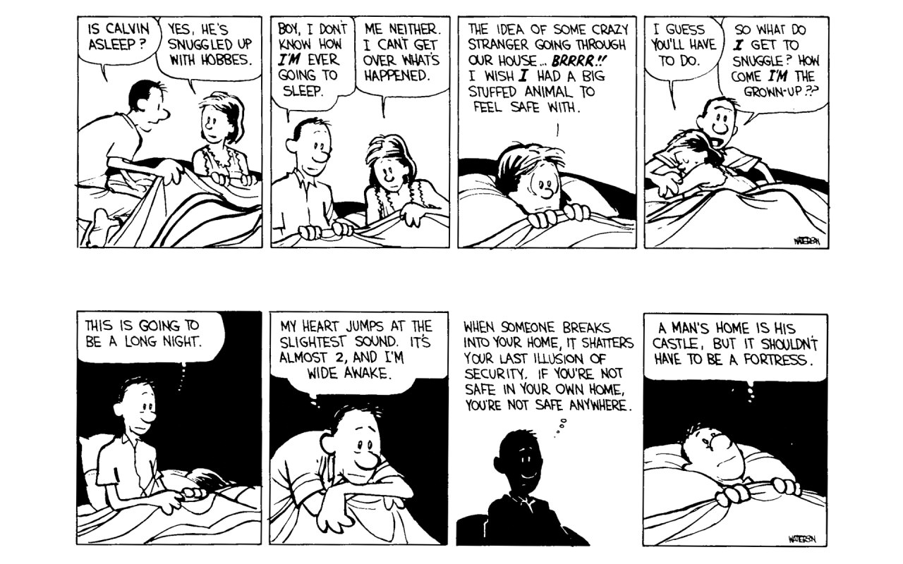 """""""A man's home is his castle, but it shouldn't have to be a fortress"""" Bill Watterson through Calvin and Hobbes [1280×800]"""