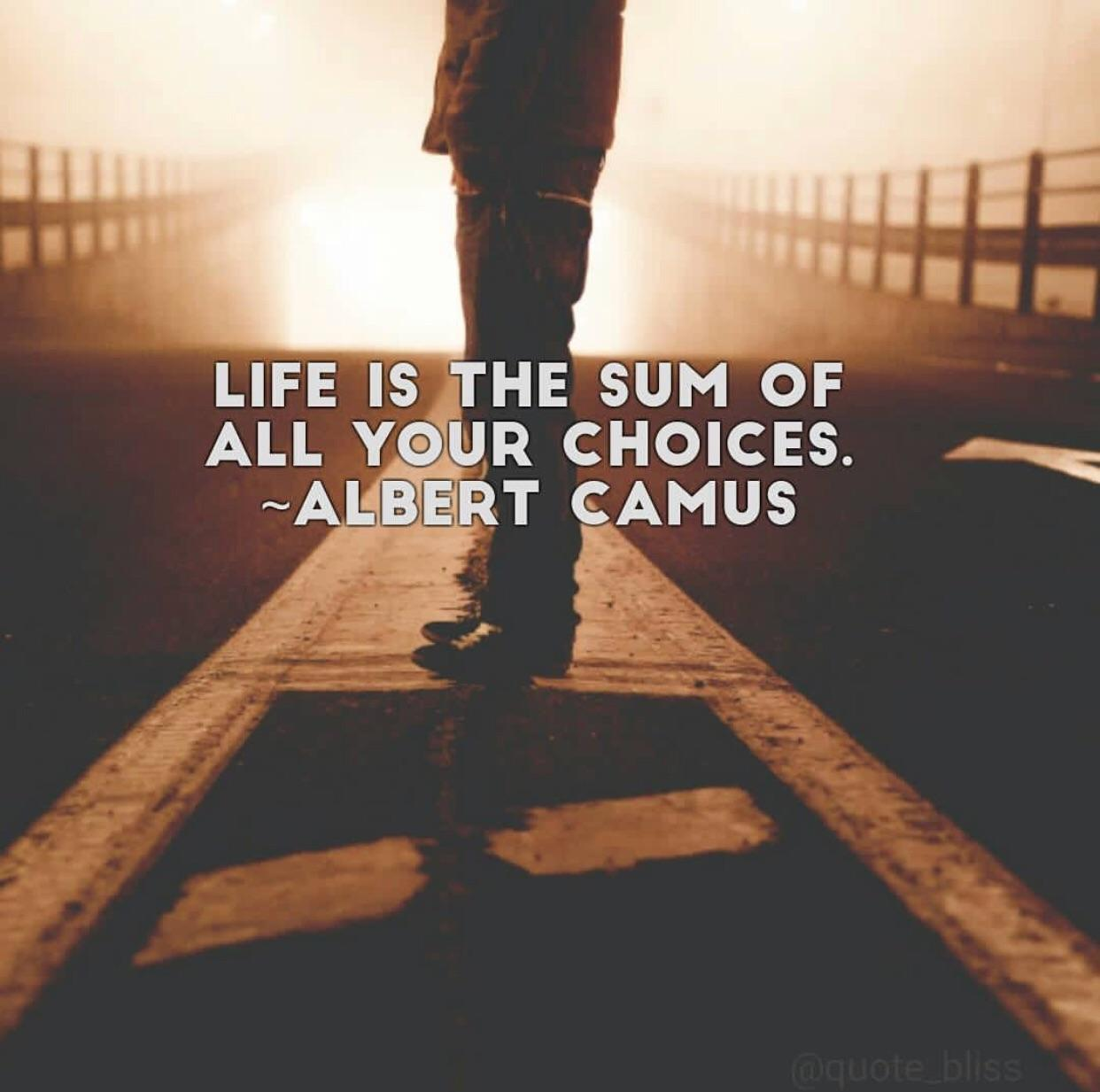 """Life is the sum of all your choices.""-Albert Camus [1242 x1233]"