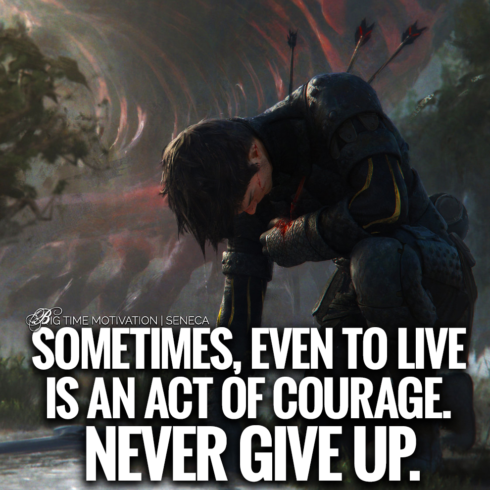 "[OC] ""Sometimes, Even To Live Is An Act Of Courage."" – Seneca [990×990]"