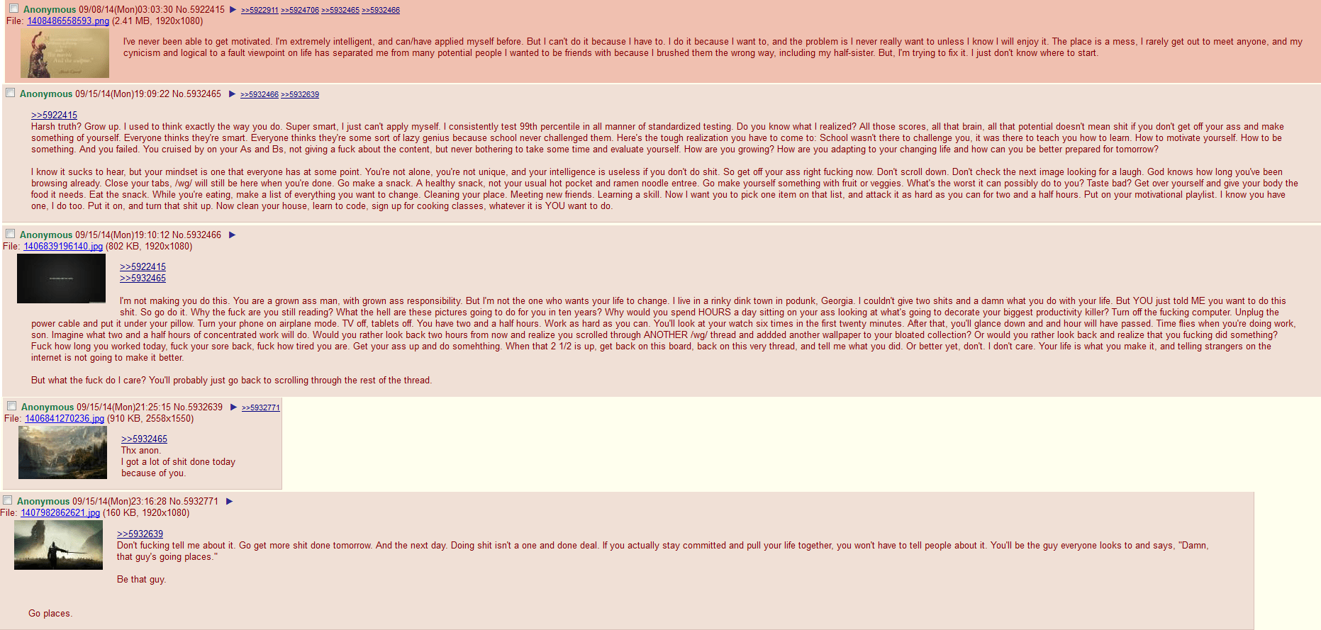 [Image] 4Chan user writes how to get motivated.