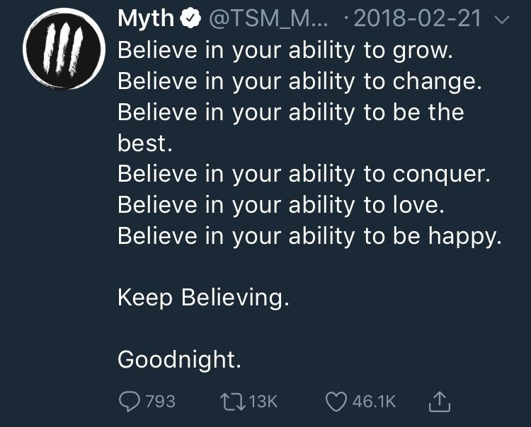 [Image] Some wisdom from TSM Myth: Keep Believing