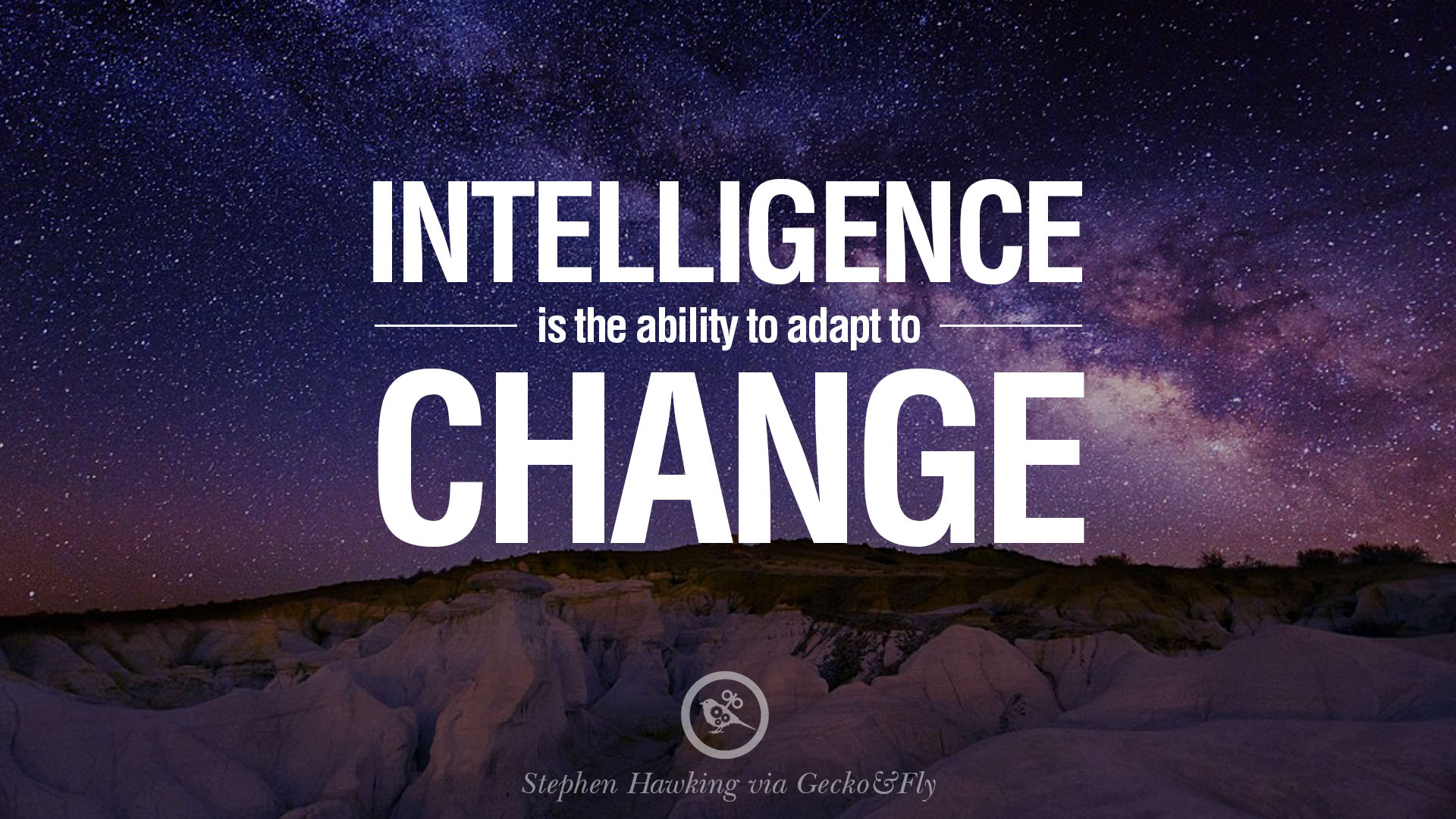 """Intelligence is the ability to adapt to change"", Stephen Hawking [1920×1080]"