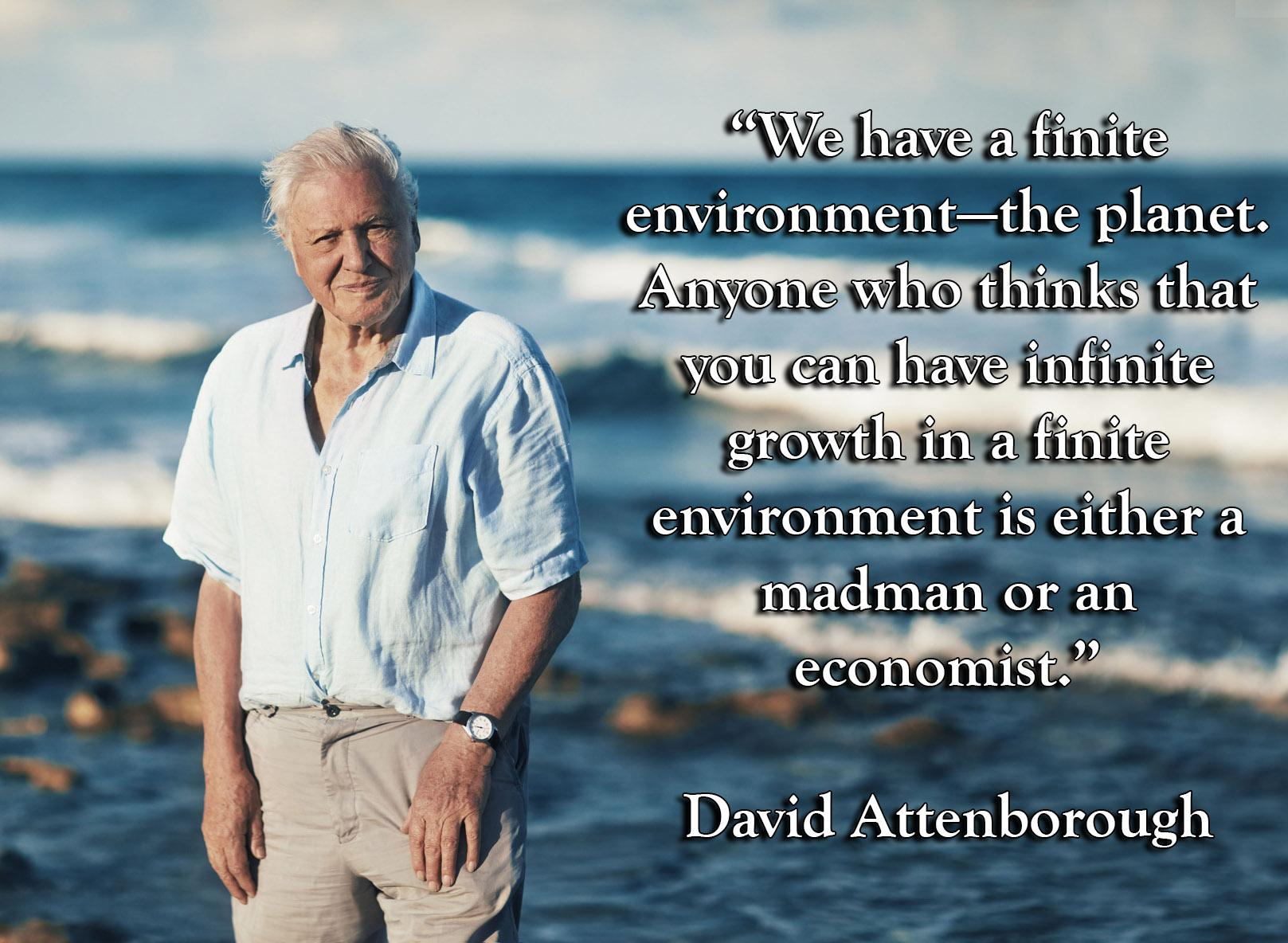 """We have a finite environment—the planet. Anyone who thinks that you can have infinite growth in a finite environment is either a madman or an economist."" – David Attenborough[1617 × 1184]"