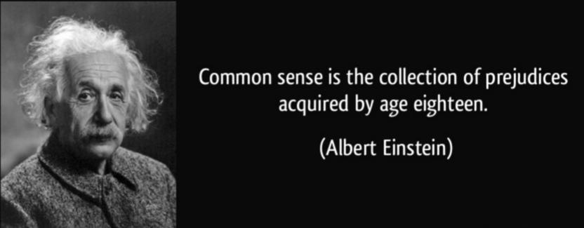 Common sense is the coIlection of prejudices acquired by age eighteen. (Albert Einstein) https://inspirational.ly