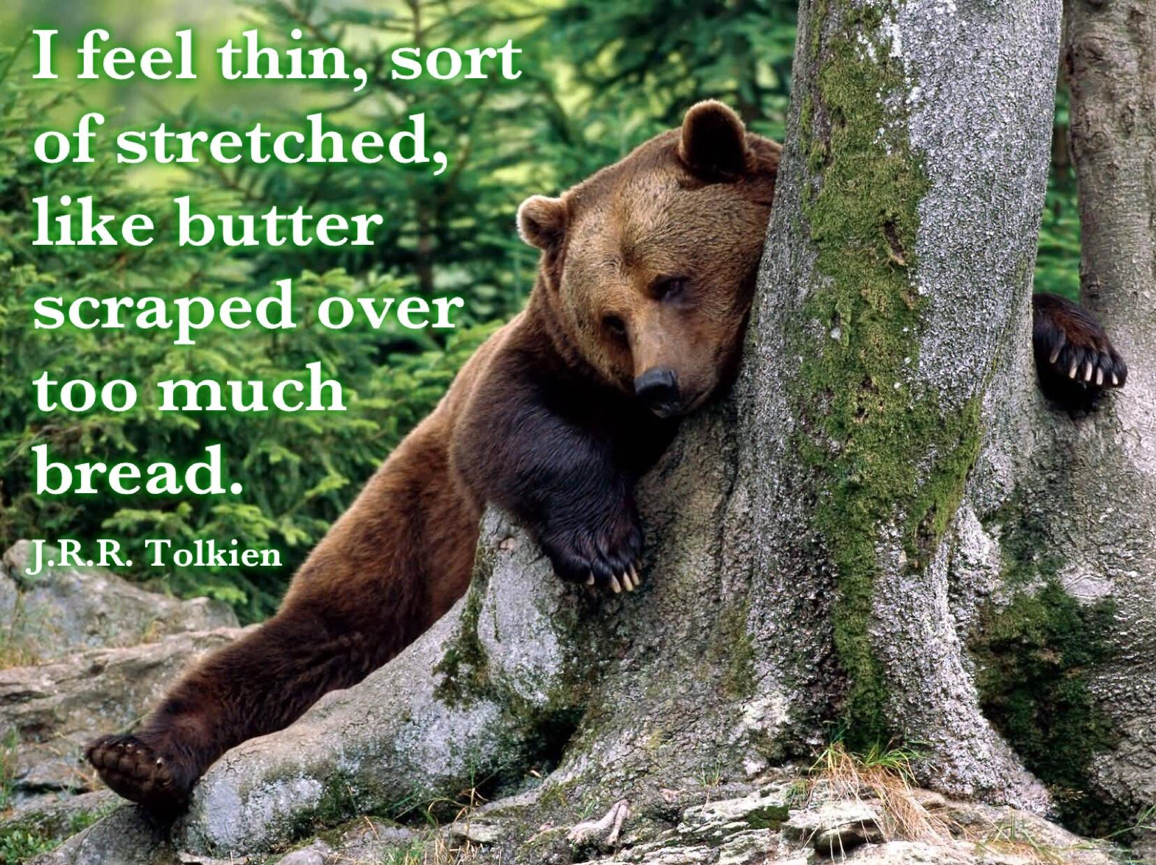 """I feel thin, sort of stretched, like butter scraped over too much bread."" – J.R.R. Tolkien [1656×1240]"
