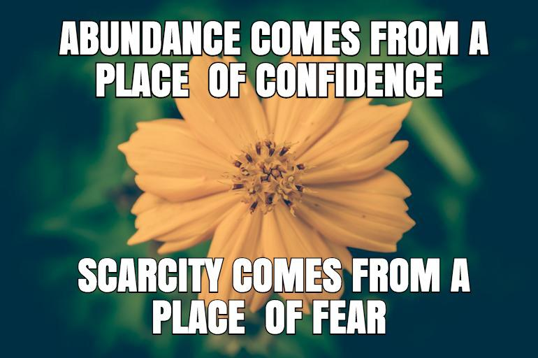Abundance comes from a place of confidence – – FEAR IS A LIE – – Author unknown – – [770×512]