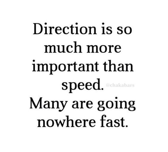 Direction is so much more important than speed. Many are going nowhere fast. https://inspirational.ly