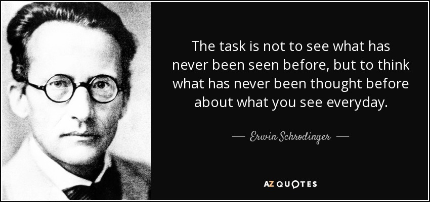 """The task is not to see what has never been seen before, …"" – Erwin Schrödinger (quantum physicist) [850×400]"