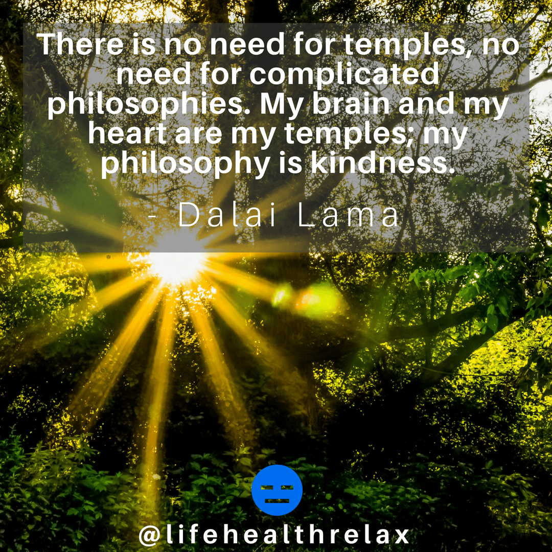 [Image] There is no need for temples, no need for complicated philosophies. My brain and my heart are my temples; my philosophy is kindness. – Dalai Lama