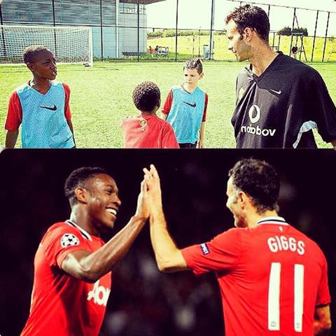 [Image] Ryan Giggs, at the height of his prime, mingles with some academy kids