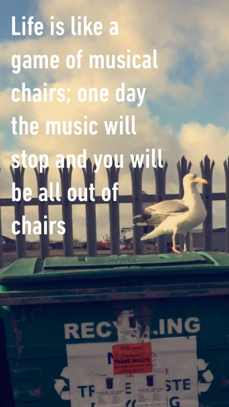 'Life is like a game of musical chairs; one day the music will stop and you will be all out of chairs' -OP [750 x 1334] [OC]
