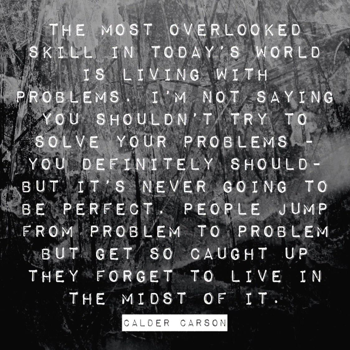 """The most overlooked skill in today's world is living with problems…"" – Calder Carson [1125×1125]"