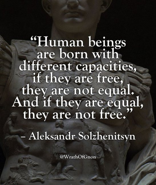 """Human beings are born with different capacities. If they are free, they are not equal. And if they are equal, they are not free."" – Aleksandr Solzhenitsyn [547 × 646]"