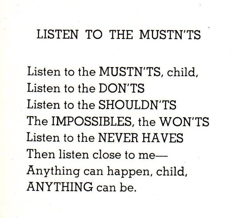 [Image] Listen to the Mustn'ts – Shel Silverstein
