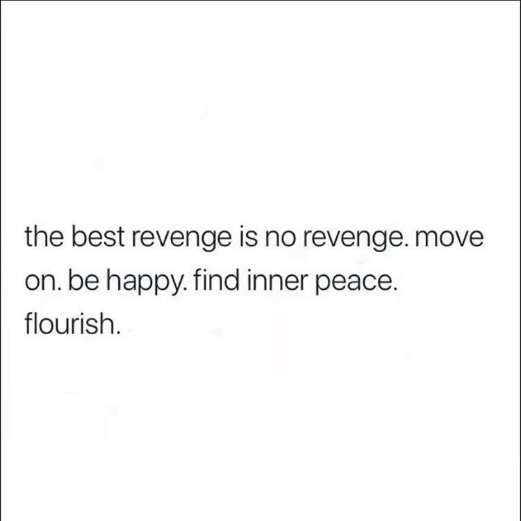 the best revenge is no revenge. move on. be happy. find inner peace. flounsh. https://inspirational.ly