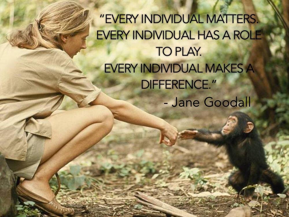 """Every individual matters…"" – Jane Goodall [1000 x 751] [OC]"