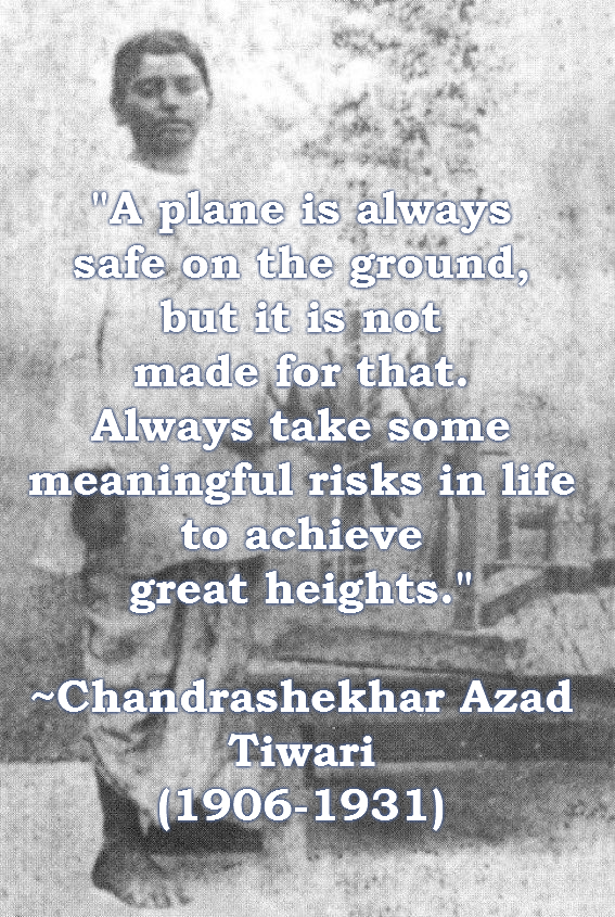 """A plane is always safe on the ground, but it is not made for that…"" – Chandrashekhar Azad [567×845] [OC]"
