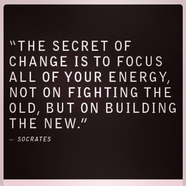 """""""THE SECRET OF CHANGE IS TO FOCUS ALL OF YOUR ENERGY, NOT ON FIGHTING THE OLD, BUT ON BUILDING THE NEW."""" —~ SOCRATES https://inspirational.ly"""