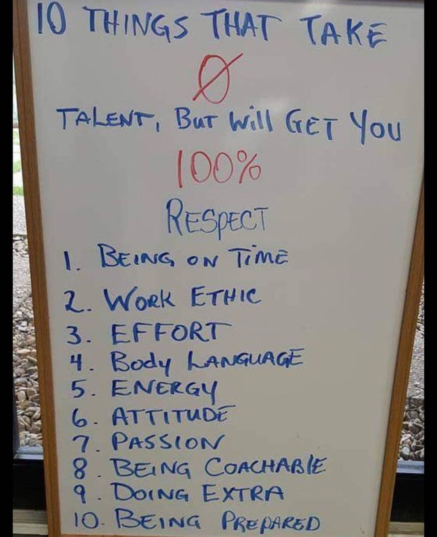 [Image] 10 things that take zero talent, but will get you 100% respect