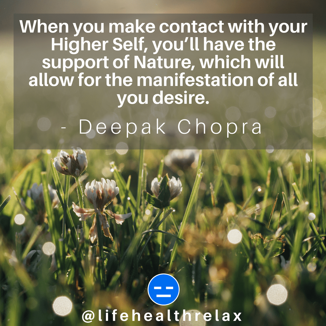 [Image] When you make contact with your Higher Self, you'll have the support of Nature, which will allow for the manifestation of all you desire. – Deepak Chopra