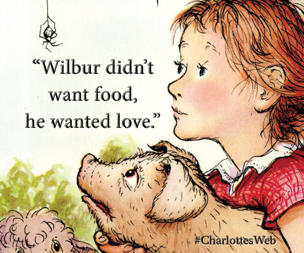 """Wilbur didn't want food, he wanted love."" – E.B. White, Charlotte's Web [1024 x 853]"