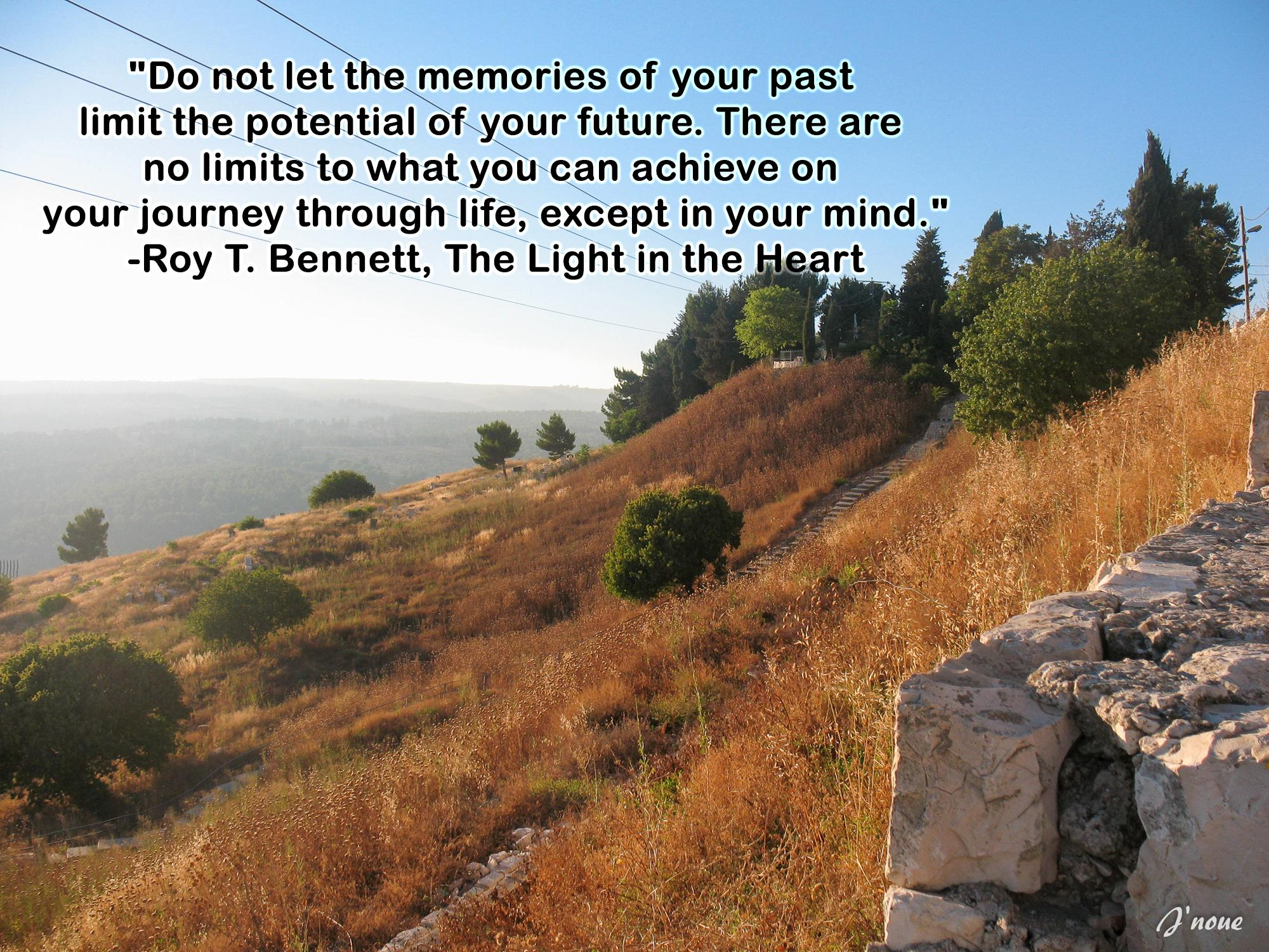 """Do not let the memories of your past limit the potential of your future. There are no limits to what you can achieve on your journey through life, except in your mind."" -Roy T. Bennett, The Light in the Heart [2000×1500]"