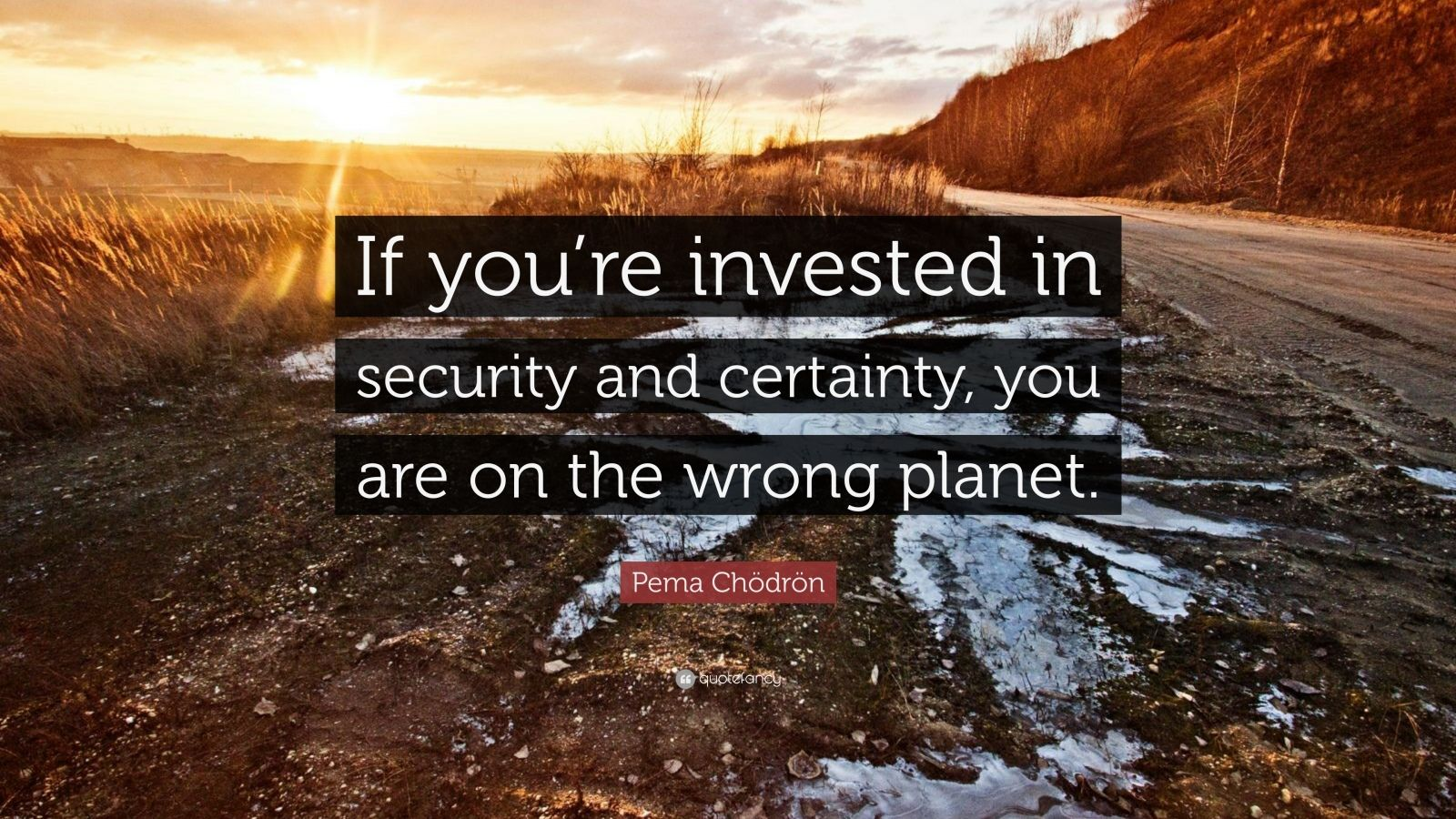 """If you're invested in security and certainty, you are on the wrong planet."" Pema Chödrön [1600×900]"