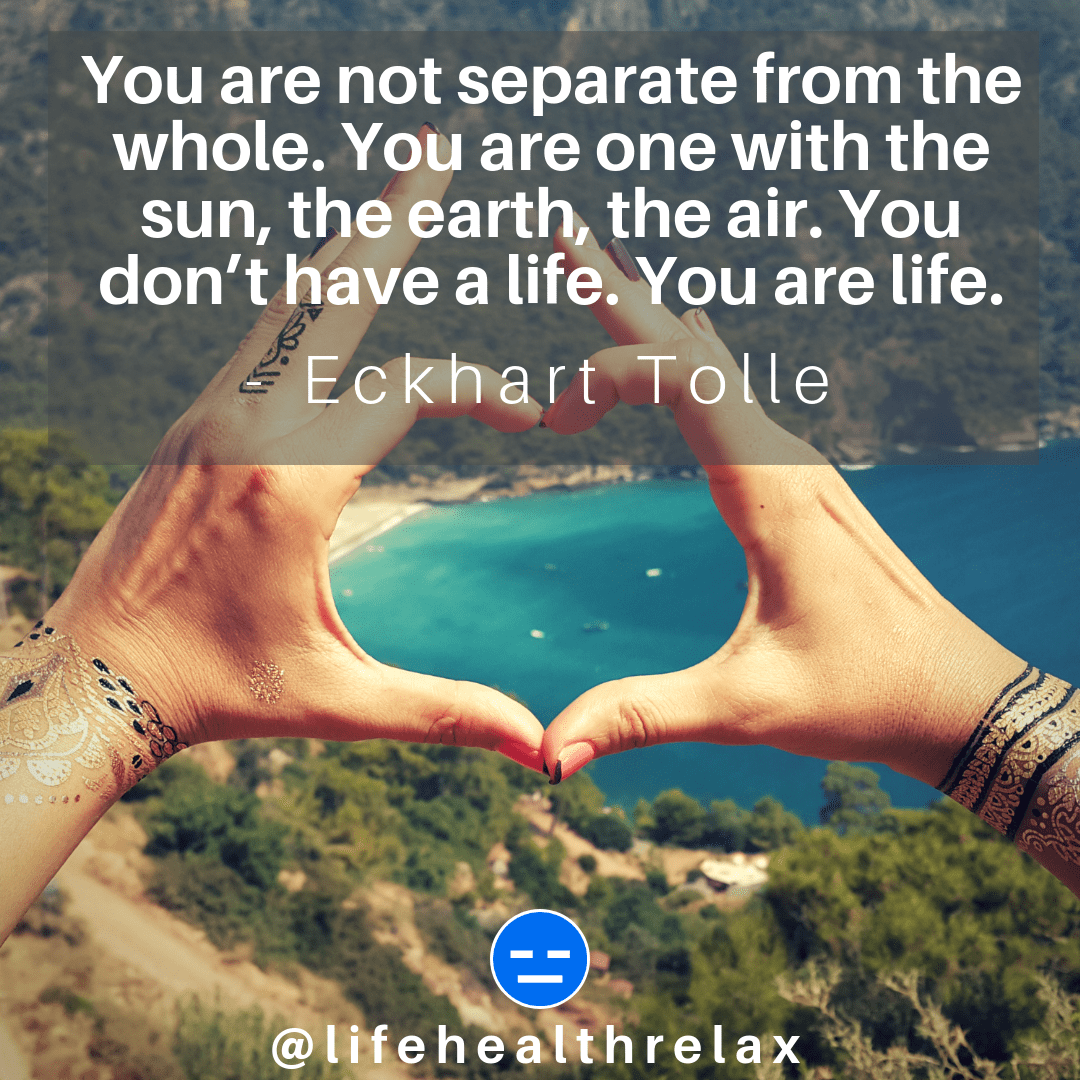[Image] You are not separate from the whole. You are one with the sun, the earth, the air. You don't have a life. You are life. – Eckhart Tolle