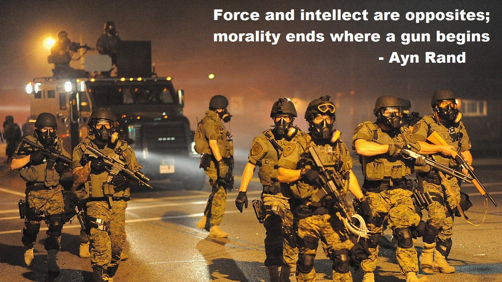 """Force and intellect are opposites…"" – Ayn Rand [1600×900]"