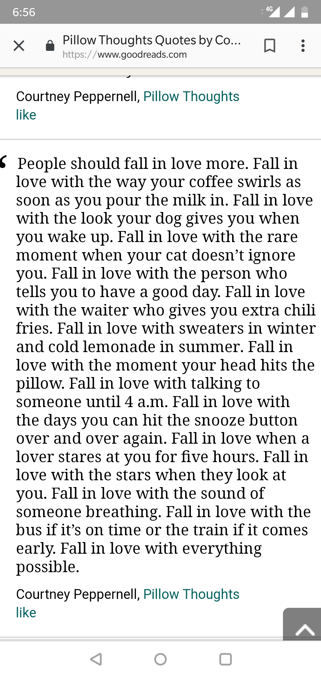 People should fall in love more. Pillow Thoughts-Courtney Peppernell [1080 X 2280]