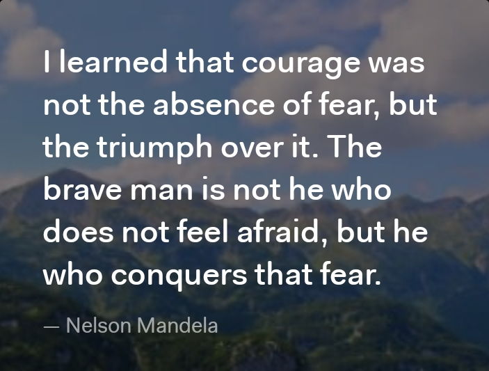 I learned that courage was not the absence of fear, but the triumph over it. The brave man is not he who does not feel afraid, but he who conquers that fear. — https://inspirational.ly
