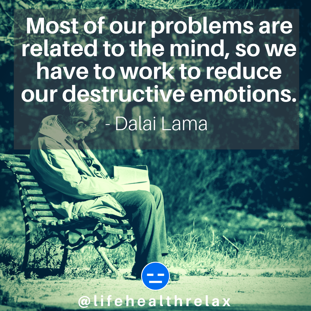 [Image] Most of our problems are related to the mind, so we have to work to reduce our destructive emotions. – Dalai Lama